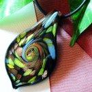Black Teardrop Lampwork Glass Pendant Necklace