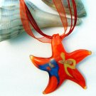 Red Starfish Lampwork Glass Pendant Necklace