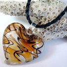 Amber and White Heart Lampwork Glass Pendant Necklace