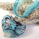 Light Blue and White Heart Lampwork Glass Pendant Necklace
