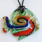Green Tone Tropical Fish Lampwork Glass Pendant Necklace
