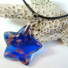 Blue and Gold Star Lampwork Glass Pendant Necklace