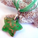 Green and Gold Star Lampwork Glass Pendant Necklace
