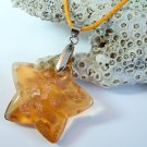 Light Amber and Gold Star Lampwork Glass Pendant Necklace