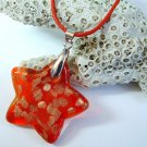 Red and Gold Star Lampwork Glass Pendant Necklace