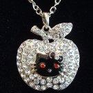 Large Apple Hello Kitty Rhinestone Pendant Necklace