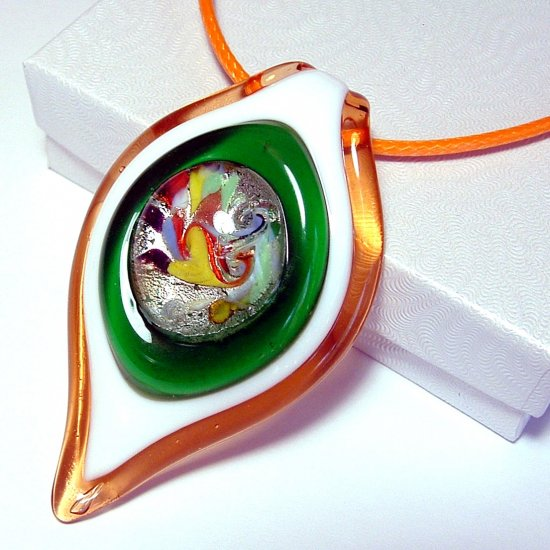 Large Lampwork Glass Pendant Necklace - Orange & Green