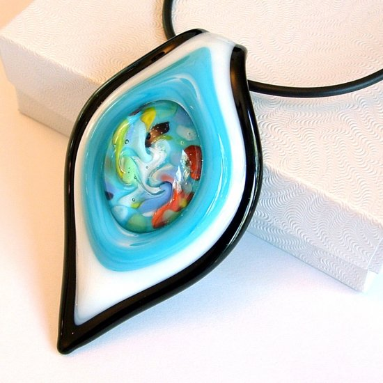 Large Lampwork Glass Pendant Necklace - Blue, White & Black