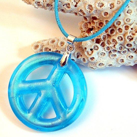 """1 1/2"""" Blue Peace Sign Foil Glass Pendant Necklace"""
