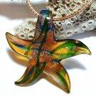 Amber Starfish Lampwork Glass Pendant Necklace