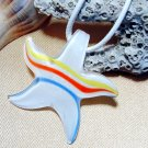 White Starfish Lampwork Glass Pendant Necklace
