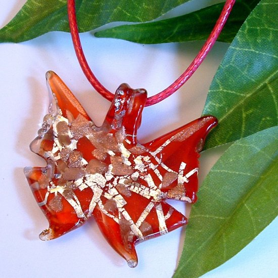 Butterfly Lampwork Glass Pendant Necklace - Red