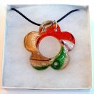 Flower Lampwork Glass Pendant Leather Cord Necklace - Red, Green & Gold