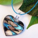 Heart Lampwork Glass Pendant Necklace - Blue, Black, Silver