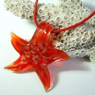 Red and Gold Starfish Lampwork Glass Pendant Necklace