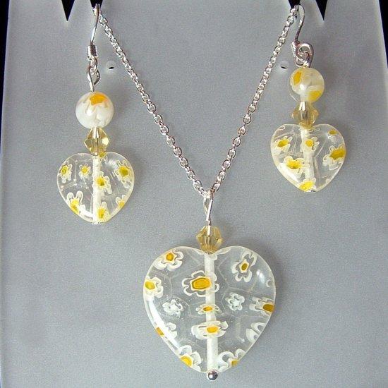 Sterling Silver Heart Millefiori Glass Necklace & Earrings Set -  Yellow on Clear