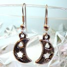 Silver Tone Star & Heart in Moon Earrings