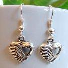 Silver Tone Heart in Heart Earrings