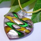 Heart Lampwork Glass Pendant Necklace - Yellow, Green, Silver