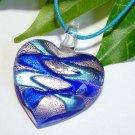 Heart Lampwork Glass Pendant Necklace - Blue, Silver