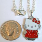 HELLO KITTY Silver Tone Pendant Necklace - Red Dress