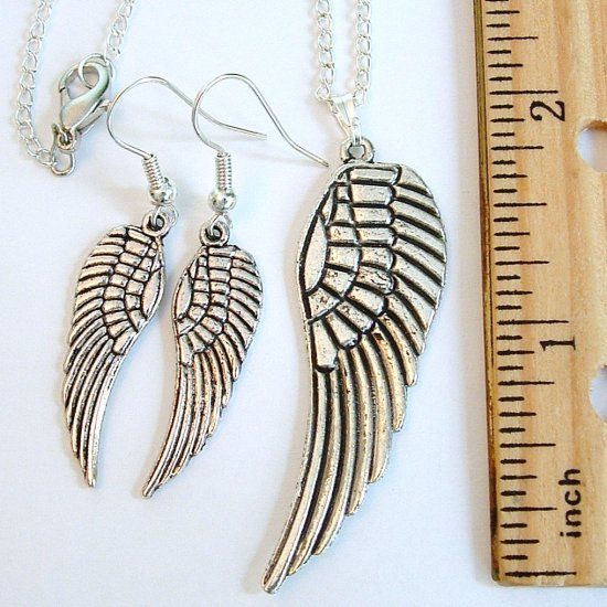Silver Tone Wing Necklace & Earrings Set