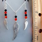 Wing & Crystal Sterling Silver Necklace & Earrings Set