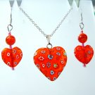 Sterling Silver Heart Millefiori Glass Necklace & Earrings Set -  Red