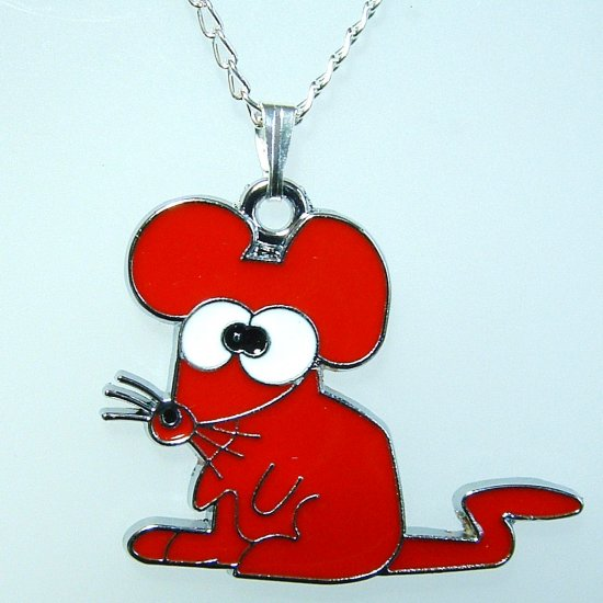 Red Mouse Pendant Silver Tone Necklace