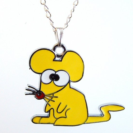 Yellow Mouse Pendant Silver Tone Necklace