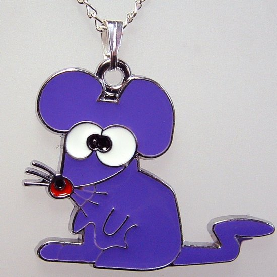 Purple Mouse Pendant Silver Tone Necklace