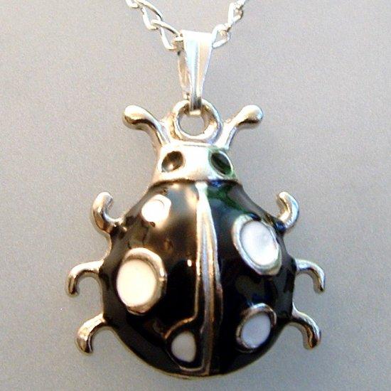 Black Ladybug Pendant Silver Tone Necklace