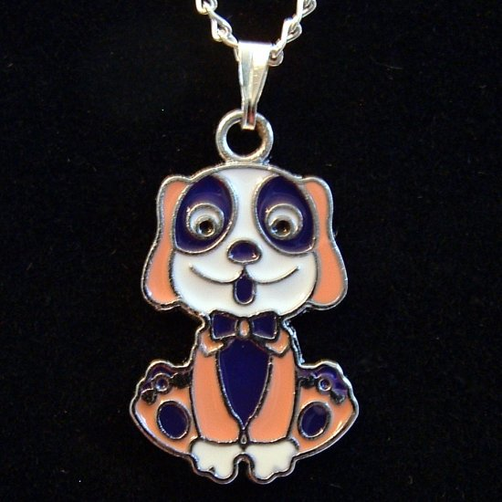 Peach & Purple Dog Silver Tone Pendant Necklace