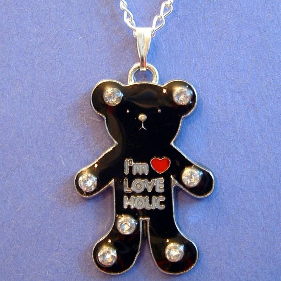 Black Teddy Bear Silver Tone Necklace in Gift Box