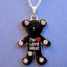 Black Teddy Bear Silver Tone Necklace in Gift Box