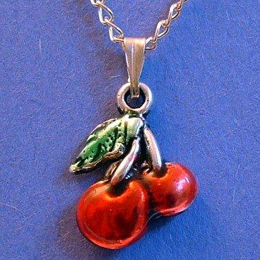 Cherry Pendant Silver Tone Necklace