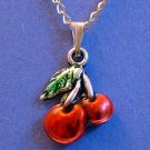 Cherry Pendant Silver Tone Necklace