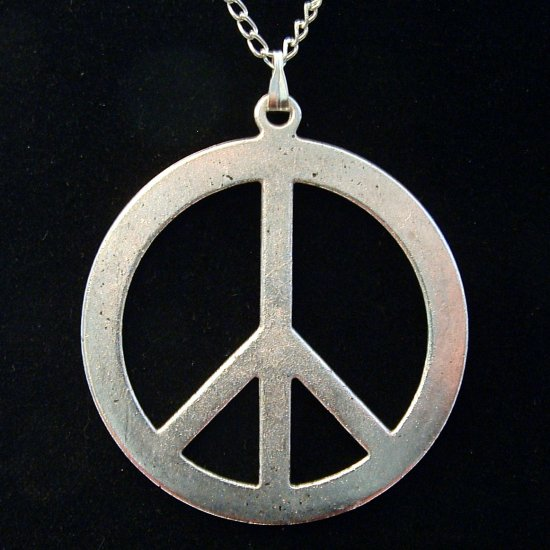 Silver Tone Large PEACE Sign Pendant Necklace