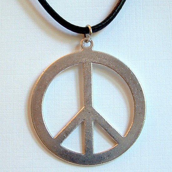 Silver Tone Large PEACE Sign Pendant with Necklace Cord