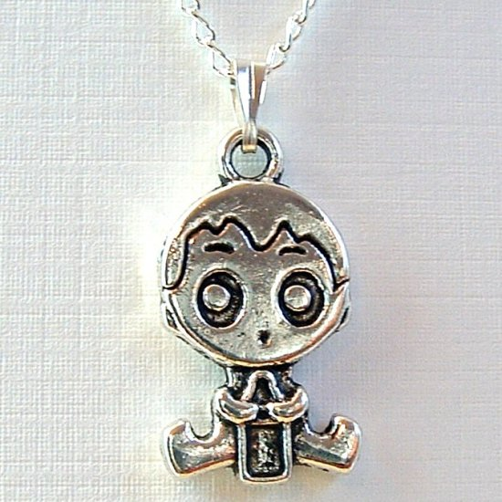 Silver Tone Baby Pendant Necklace
