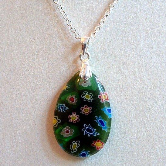 Sterling Silver Teardrop Millefiori Glass Pendant Necklace -  Green