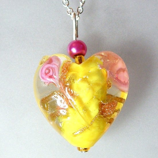 Sterling Silver Lampwork Glass Necklace - Yellow