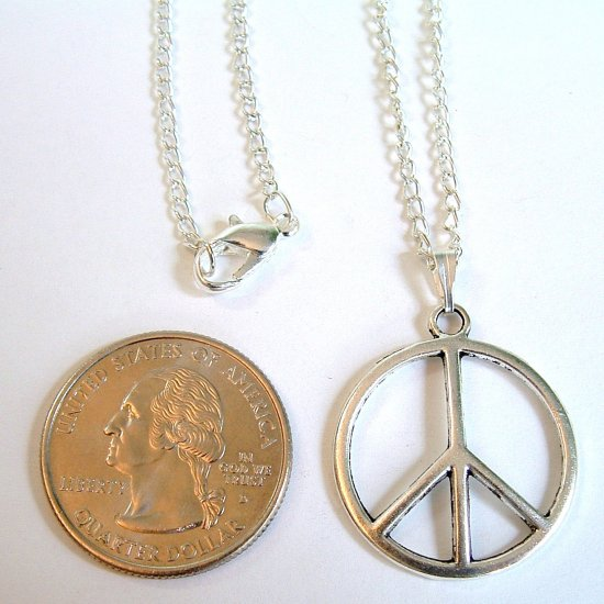 "Silver Tone 1"" Peace Sign Pendant Necklace"