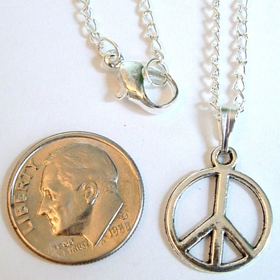 "Silver Tone 1/2"" Small Peace Sign Pendant Necklace"
