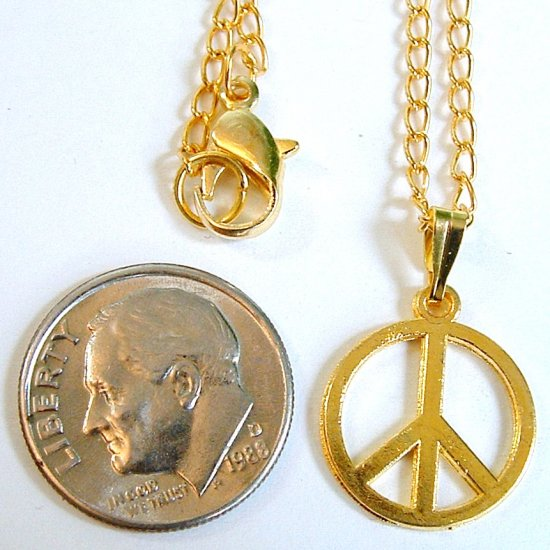 """Gold Tone 1/2"""" Small Peace Sign Pendant Necklace"""