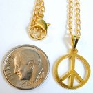 "Gold Tone 1/2"" Small Peace Sign Pendant Necklace"