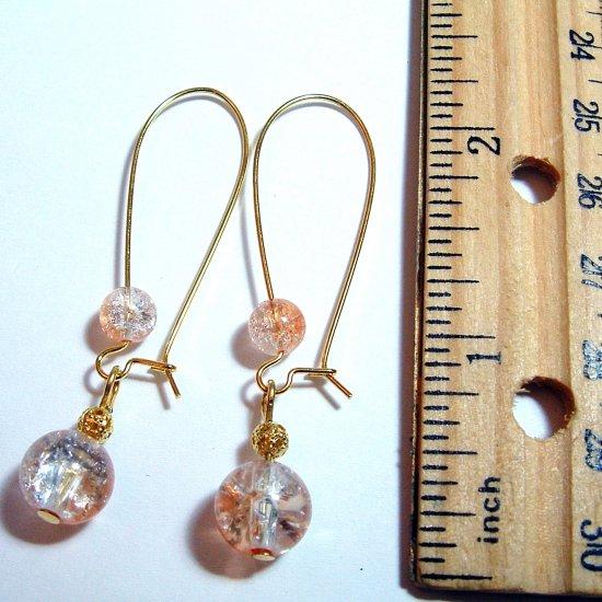 Gold Tone Crackle Glass Drop Earrings - Peach