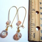 Gold Tone Crackle Glass Drop Earrings - Peach