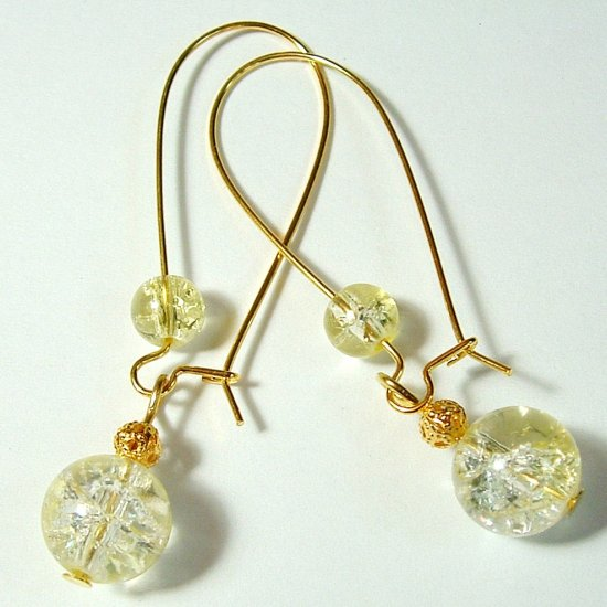 Gold Tone Crackle Glass Drop Earrings - Yellow