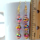Round Lampwork Glass Beads Gold Tone Earrings - Pink